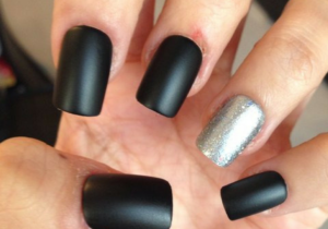 Matte Black Nails With Silver Sparkly Design